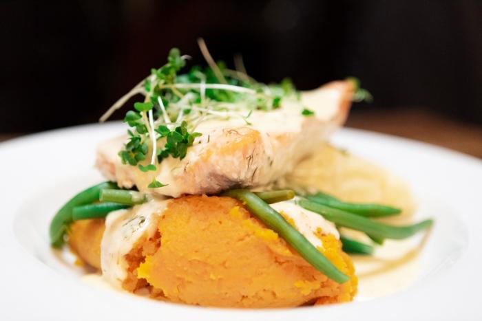 Baked Salmon - Irish Food at Gus O'Connor's Pub, Doolin, co. Clare